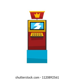 Electronic slot game machine with crown vector Illustration isolated on a white background