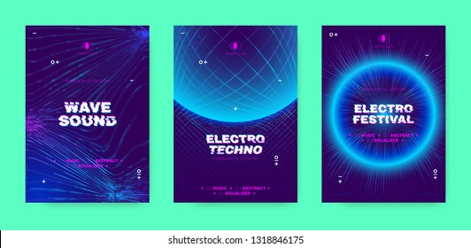 Electronic Sound Party Poster, Abstract Wave Distorted Lines. Music Flyer for Dj Event Promotion. Techno Festival, Night Party Concept with 3d, Neon Effect. Abstract Technology Cover or Party Banners.