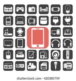 Electronic symbol icons set.Vector illustration