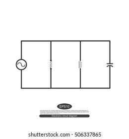 Electronic symbols. For learning basic electrical circuits. The parallel circuit consists of a source and three resistance.  Schematic diagram.