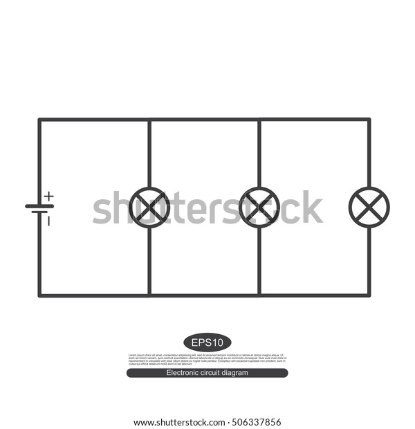 electronic symbols  for learning basic electrical circuits  the parallel  circuit consists of a source