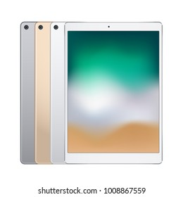 Electronic tablets of different colors, front view and backside. Vector illustration.