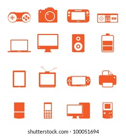 Electronic technology device icon complete collection with nice orange color