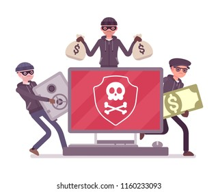 Electronic theft danger. Masked men in black stealing money using technology, thieves committing network crime with computer system. Vector flat style cartoon illustration isolated on white background