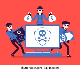Electronic theft danger. Masked men in black stealing money using technology, thieves committing network crime with computer system. Vector illustration, faceless characters