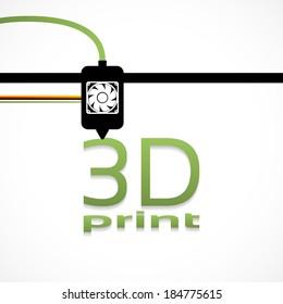 Electronic three dimensional plastic printer during work 3D printer, 3D printing