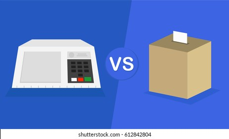 Electronic urn Brazilian vs paper vote urn -  illustration
