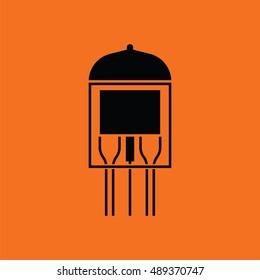 Electronic vacuum tube icon. Orange background with black. Vector illustration.
