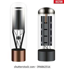 Electronic vacuum tube. Vector Illustration isolated on white background.
