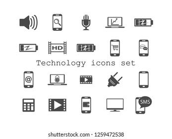 Electronic vector icon set