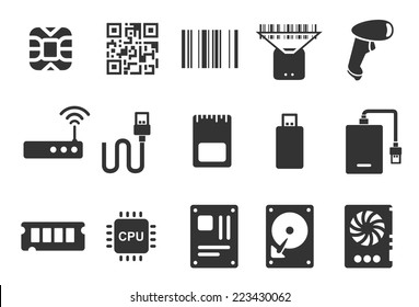 Electronic vector illustration icon set. Included the icons as chip, barcode, scan, digital, technology, hardware and more.