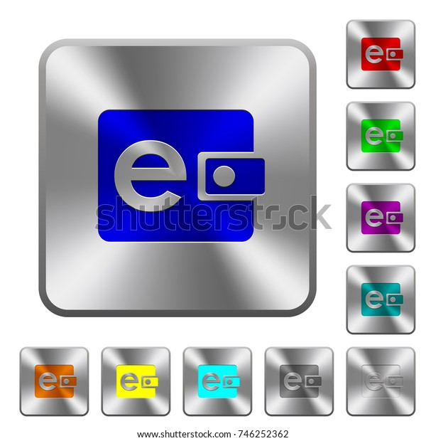 Electronic wallet engraved icons on rounded square glossy steel buttons