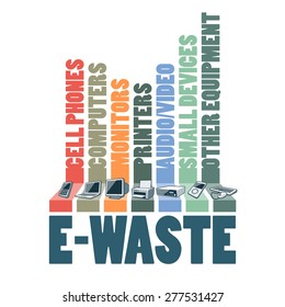 Electronic waste categories composition infographic. E-waste consisting of used cell phones, computers, monitors, printers, audio video devices and other electric waste. WEEE management concept.