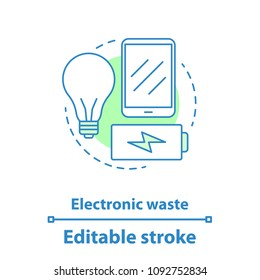 Electronic waste concept icon. WEEE idea thin line illustration. E-waste. Vector isolated outline drawing. Editable stroke