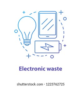 Electronic waste concept icon. WEEE idea thin line illustration. E-waste. Vector isolated outline drawing