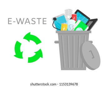 Electronic waste vector illustration. Home devices - laptop, lamp, smartphone, camera, battery, wires. Recycling ecology problem isolate on white background objects collection.