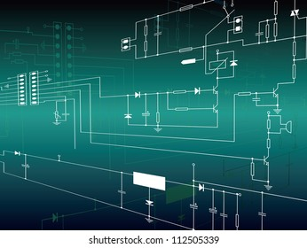 Electronics background with circuit diagrams