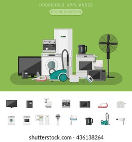 Electronics banner with icons microwave, coffee machine, washing machine, etc. Household appliances vector flat icons.