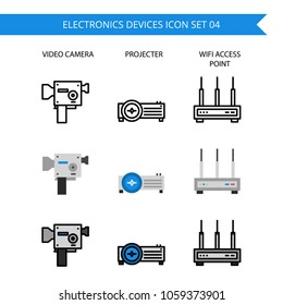 Electronics Device Icon Set.,Camera,movies,projector,Modem,router,wifi.
