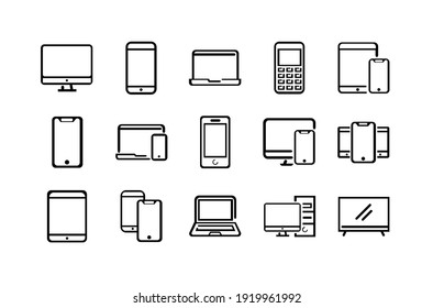 Electronics and devices related line icon set. Vector illustration EPS 10.