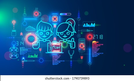 Electronics engineering and hardware programming learning for teens. Boy and Girl coding on laptop in online school for child education of creating electronic robots. Happy kids on science lesson. - Shutterstock ID 1790739893