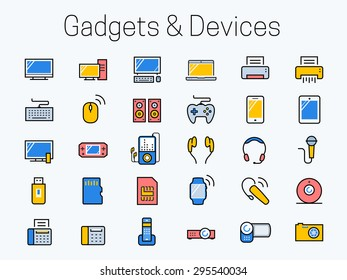 Electronics, gadgets and devices icon set