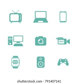 Electronics and gadgets icon set.
