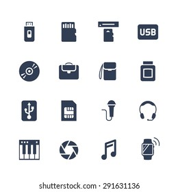 Electronics and gadgets icon set: flash drive, memory card, card reader, usb hdd, cd, laptop bag, camera bag, toner, sim card, microphone, headset, synthesizer, shutter, smart watch