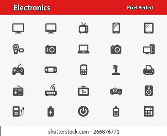 Electronics Icons. Professional, pixel perfect icons optimized for both large and small resolutions. EPS 8 format.