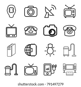 Electronics icons. set of 16 editable outline electronics icons such as desk phone, vacuum cleaner, cpu in head, cpu planet, tv, tv, mp3 player, camera, camera bulb, satellite
