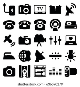 Electronics icons set. set of 25 electronics filled icons such as camera, desk phone, iron, mri, laptop with heart, satellite, equalizer, dvd player, camera bulb, tv