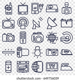 Electronics icons set. set of 25 electronics outline icons such as iron, cpu, mri, satellite, tv, camera, dvd player, mp3 player, battery, camera bulb, broken battery