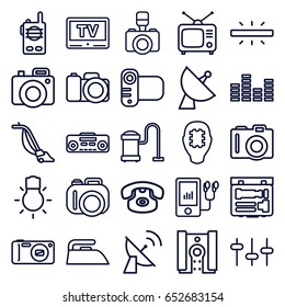 Electronics icons set. set of 25 electronics outline icons such as camera, iron, vacuum cleaner, satellite, tv, equalizer, mp3 player, record player, camera bulb, tv