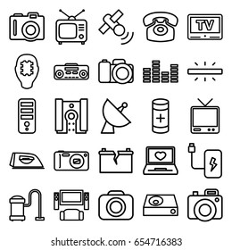 Electronics icons set. set of 25 electronics outline icons such as camera, iron, vacuum cleaner, cpu, laptop with heart, satellite, tv, tv, dvd player, battery, record player