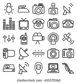 Electronics icons set. set of 25 electronics outline icons such as camera, desk phone, iron, vacuum cleaner, mri, laptop with heart, satellite, equalizer, tv, dvd player