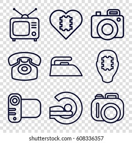 Electronics icons set. set of 9 electronics outline icons such as iron, MRI, Tv, camera, desk phone, CPU in head