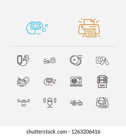 Electronics icons set. Data protection and electronics icons with web browser, power bank and artificial intelligence. Set of painting for web app logo UI design.