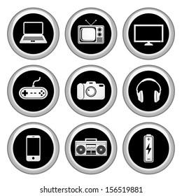 Electronics Icons Silver Icon Set