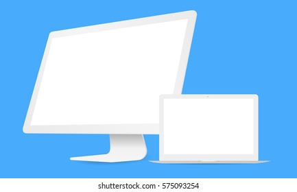 Electronics icons: white computer iMac and laptop Macbook air on blue background. Apple devices. Vector illustration
