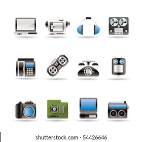 electronics, media and technical equipment icons - vector icon set
