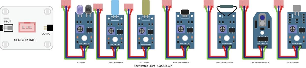 electronics plug and play tile with various sensor for minor diy activity, IR module, Vibration sensor, tilt module, Hall effect, reed switch module, line follower, sound module, sensor base