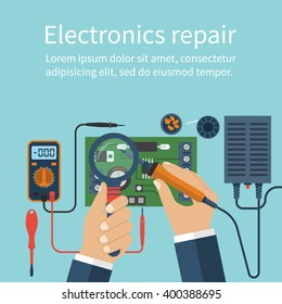 Electronics repair.  Vector flat design style.