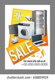 Electronics Sale poster, banner or flyer design with illustration of washing machine, laptop, refridgerator, fridge, toaster.