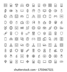 Electronics set line icons in flat design with elements for web site design and mobile apps.  Collection modern infographic logo and symbol. Electronics vector line pictogram