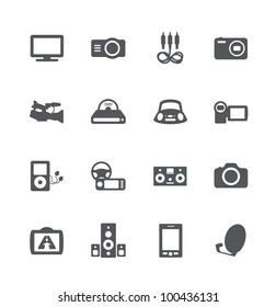 Electronics simple minimalistic icons set