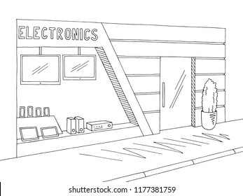 Electronics store exterior graphic black white sketch illustration vector