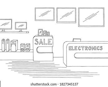 Electronics store interior graphic black white sketch illustration vector