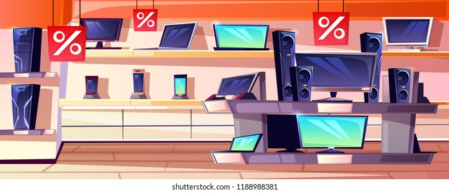 Electronics store vector illustration of consumer appliances shop department interior in trade mall. Sale for digital mobile phones, computers or TV and audio system on shelves display