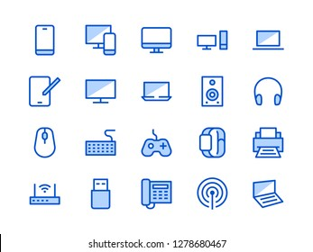 Electronics, Technology Store Blue Line Icon. Vector Illustration Flat style. Included Icons as Tv, Computer, Phone, Audio Devices and more. Editable Stroke
