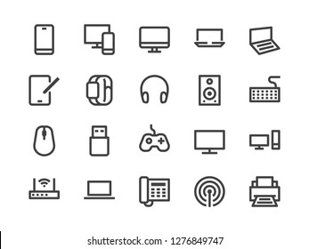Electronics, Technology Store Line Icon. Vector Illustration Flat style. Included Icons as Tv, Computer, Phone, Audio Devices and more. Editable Stroke. 30x30 Pixel Perfect